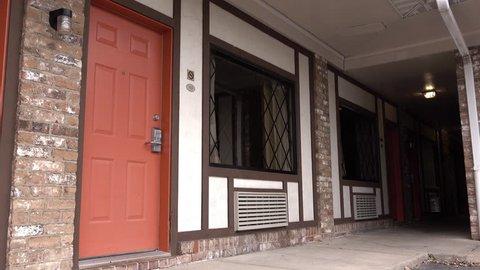 Hotel door establishing shot exterior 4k