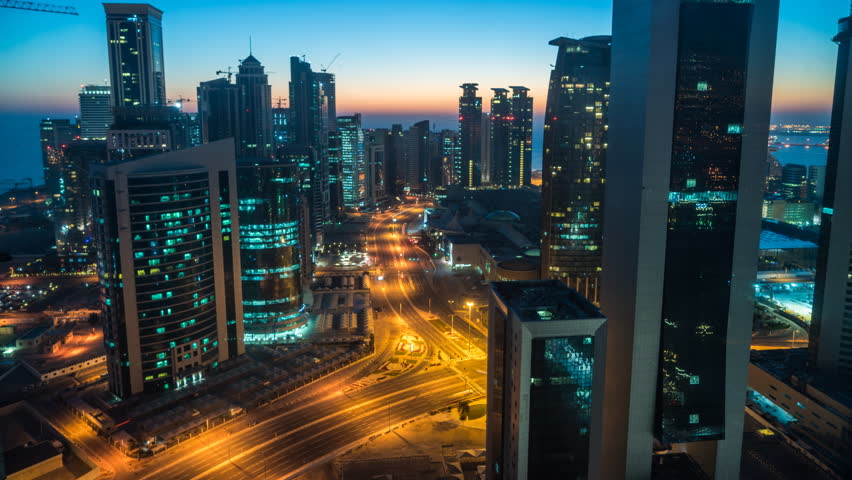 Doha, Qatar - February 2016: Time lapse of sunrise over downtown & central business district, Doha, Qatar, Middle East | Shutterstock HD Video #17062108