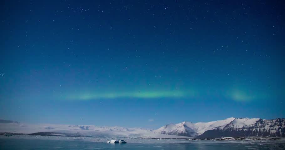 Northern light (Aurora borealis) above a glacial lagoon | Shutterstock HD Video #17065894