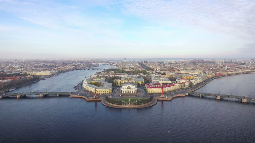 Aerial view of the spit of Vasilievsky island in Saint-Petersburg | Shutterstock HD Video #17093008