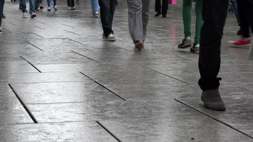 Walking Over Asphalt Tile Stock Footage