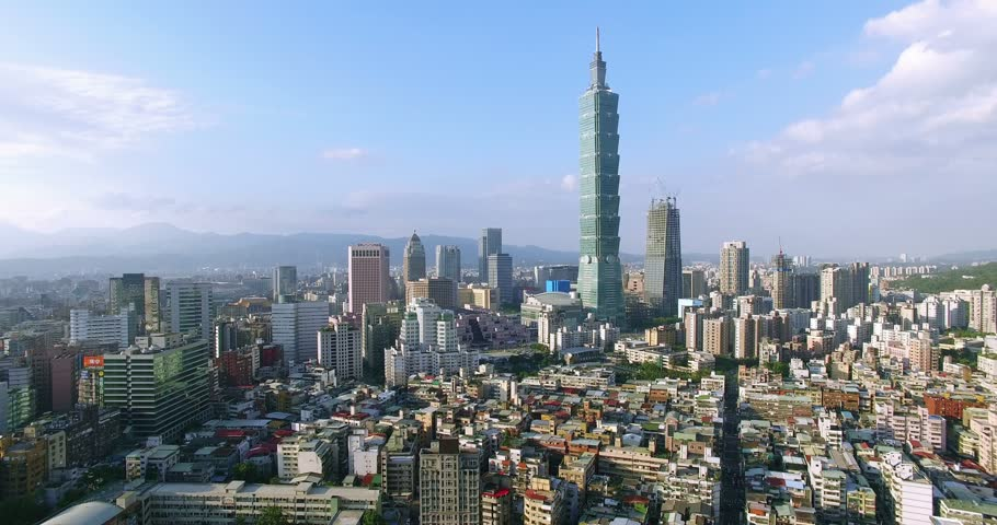 Aerial shot of  financial district in City of Taipei, Taiwan