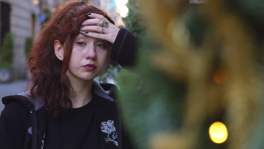 Girl crying for sorrow in the street #17127637