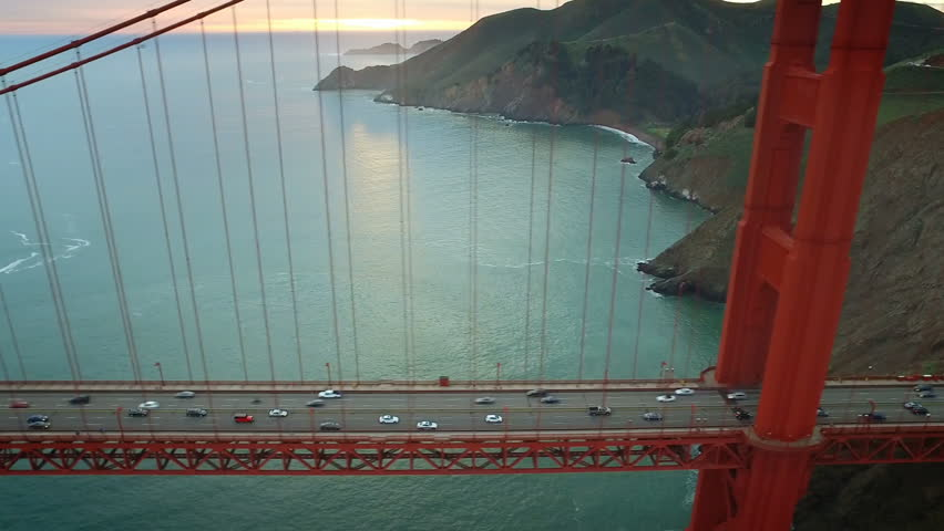 Aerial view of the Golden Gate Bridge. San Francisco, California. United States. Traffic. Shot on Red weapon 8K.
