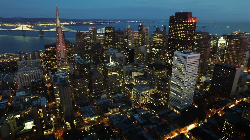 San Francisco skyline. Financial District at dusk. Aerial view. California, United States. Shot from helicopter.