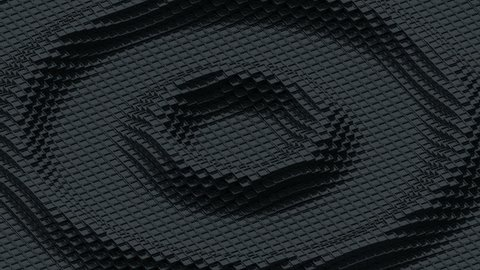 Ripples of small black cubes. Loop ready animation of moving black cubes.
