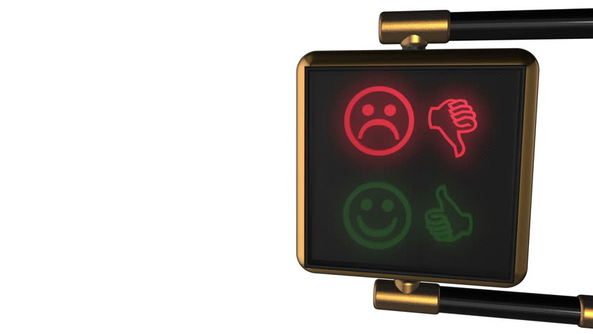 Looped animated background: 3d old-style golden street traffic light with alternately changing the symbols Smiley