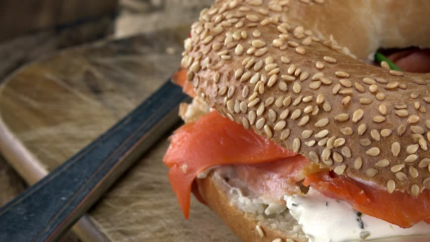 Bagels with Salmon (rotating, close-up) as seamless loopable 4K UHD footage   Shutterstock HD Video #17201263