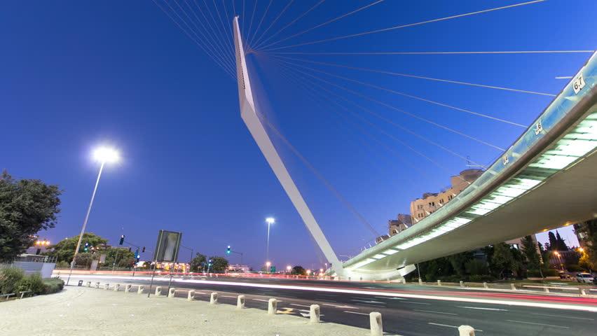 View of the bridge by Santiago Calatrava timelapse hyperlapse at the entrance to Jerusalem