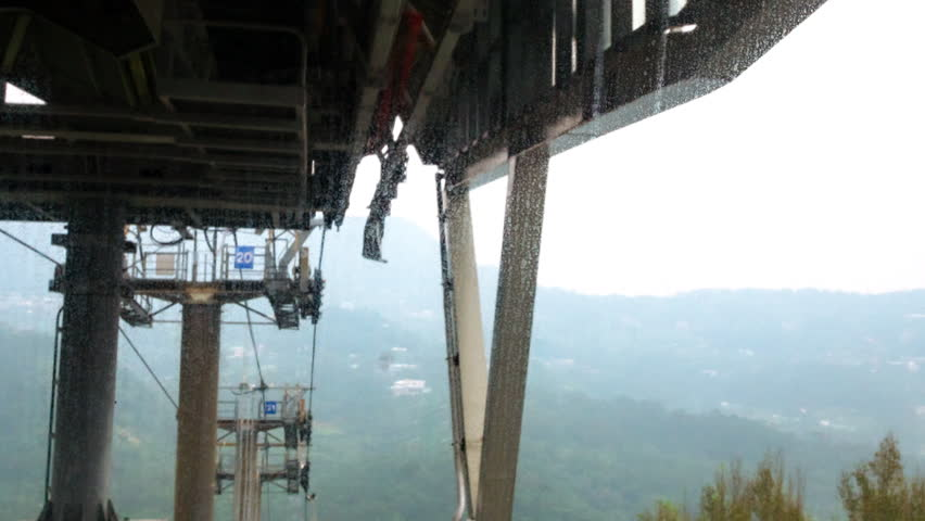 POV Hyperlapse (motion time lapse) of the Maokong Gondola (aerial sky lift) in Taipei, Taiwan that goes above Taipei Zoo. You see jungle and Taipei mountains. First person point of view timelapse.   | Shutterstock HD Video #17207542