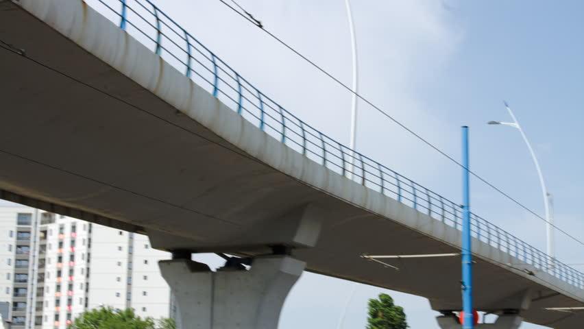 Tilt And Pan Over A Big Bridge With Light Traffic | Shutterstock HD Video #17210614