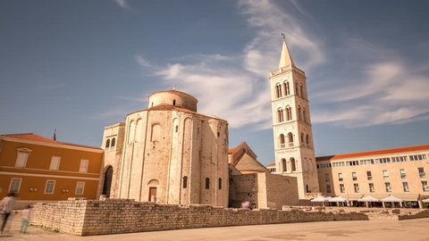 Zadar time lapse footage of old town in front of Church of St. Donatus