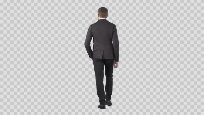 Young male in smart casual is walking from the camera. Lens 85 mm. Camera is static. Footage with alpha channel. File format - .mov, codec PNG+Alpha