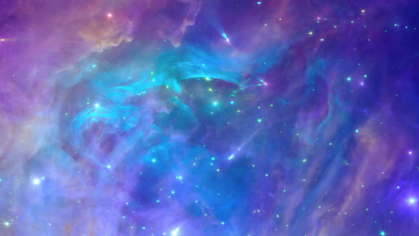 Colorful and dynamic nebula, great space background, seamless loop