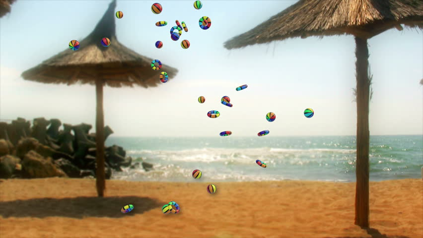 Colorful Objects Falling and Summer Time text against seaside and beach umbrellas