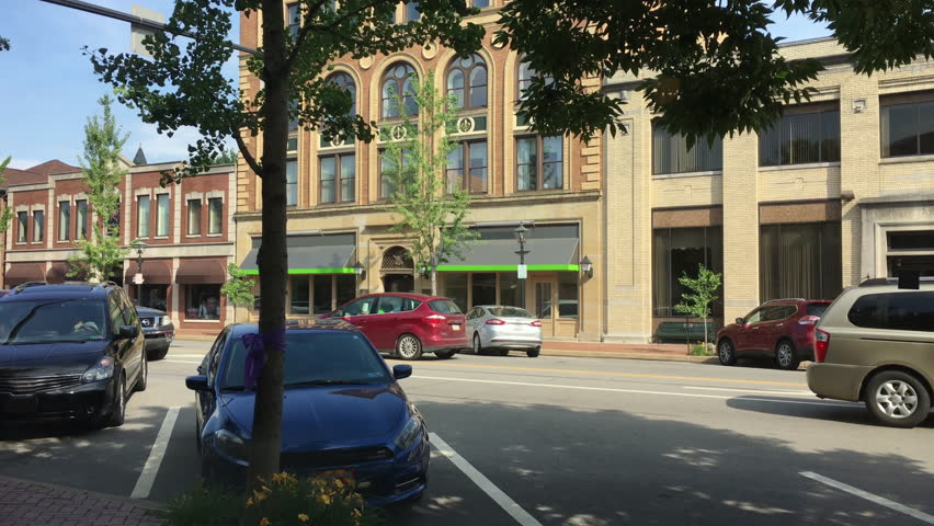 An establishing shot of a typical small town's business district in Western Pennsylvania.
