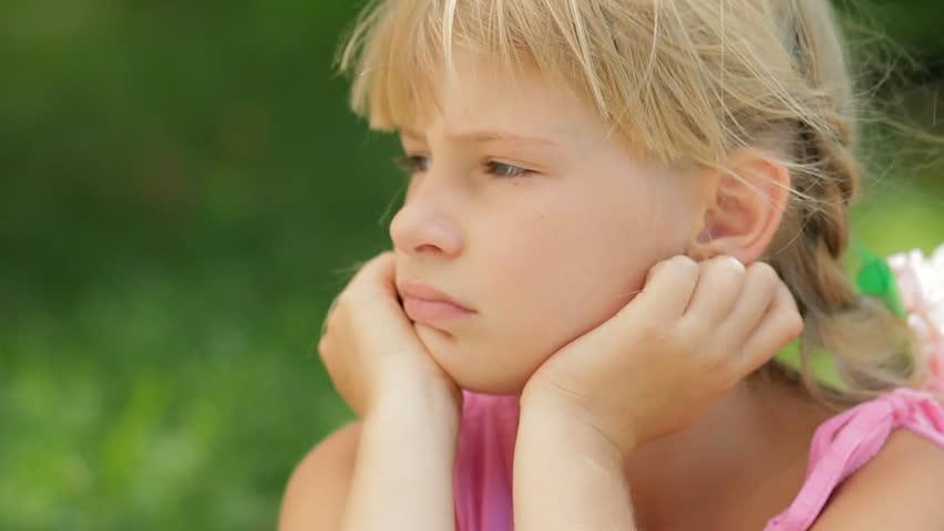 Sad Teenager Girl Portrait Stock Photo - Download Image
