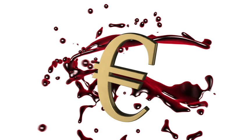 Looped animated background: 3d red-scarlet blood splash rotate around the symbol of  golden Euro on the white background. 4k. Seamless loop. Alpha matte.