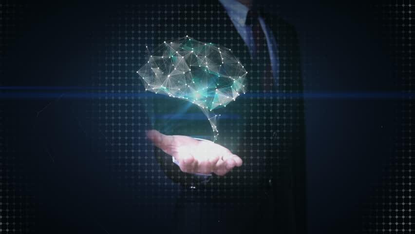 Businessman open palms, Brain connect digital lines, expanding artificial intelligence