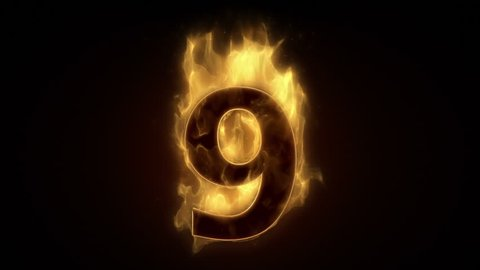 Fiery number nine burning in fire  loop with particles