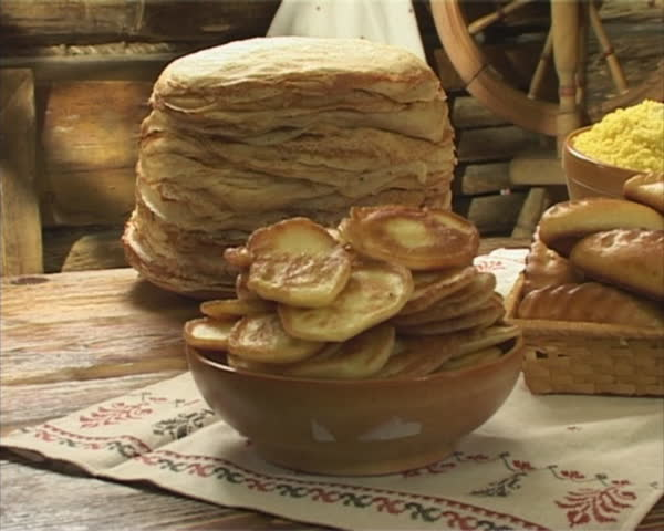 Traditional russian food on the wooden table