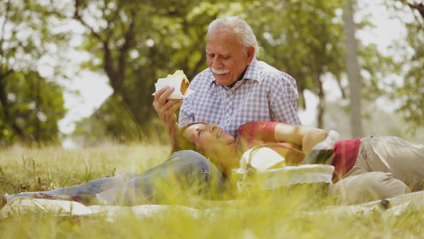 Old people, senior couple, elderly man and woman, husband and wife in park, retired seniors, retirement age. Outdoors activities, leisure, fun, recreation. Grandpa and grandma eating food at picnic | Shutterstock HD Video #17324560