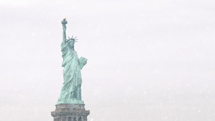 The Statue Of Liberty In Snowstorm | Shutterstock HD Video #17331346