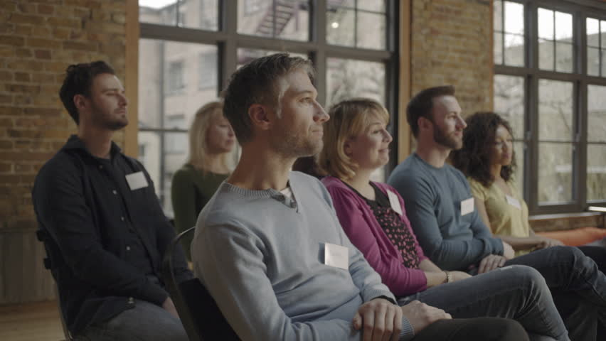 Group adults applauding speaker at event | Shutterstock HD Video #17332231