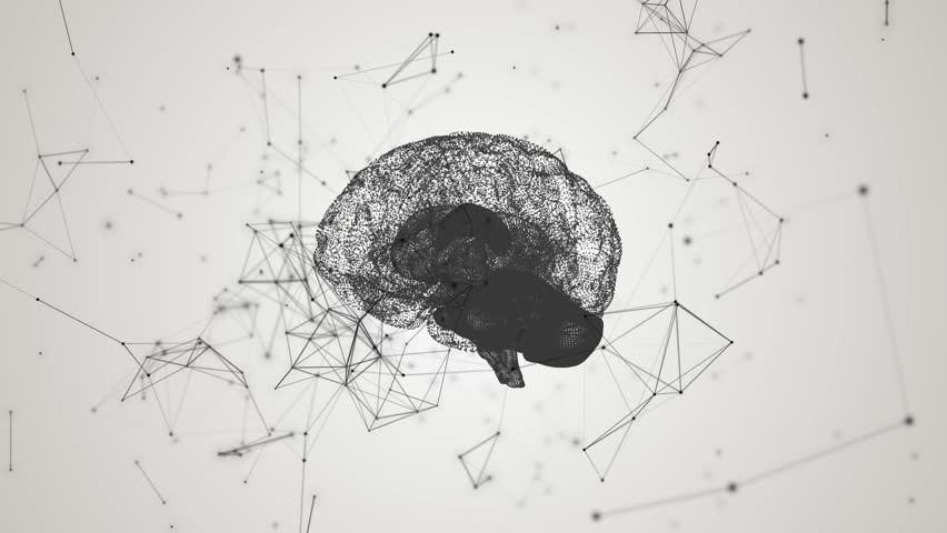 Human brain being formed by revolving particles. Plexus structure evolving around. Black and white abstract futuristic science and technology motion background. 3D rendering. Depth of field settings. | Shutterstock HD Video #17340577
