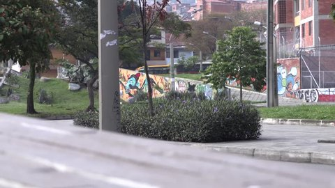 Medellin, Columbia, Circa 2016: Timelapse of foot and vehicle traffic in Medellin