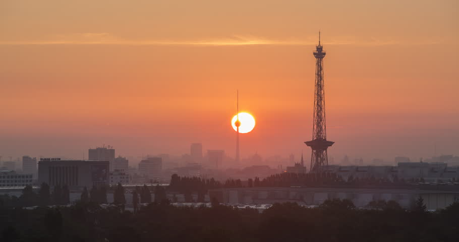 Berlin Skyline Sunrise. Time lapse.