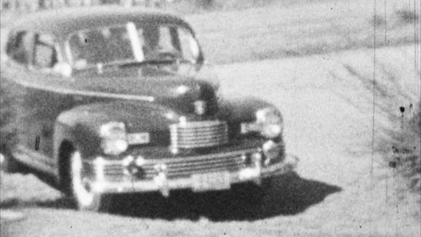 Old Car Drives Up Archival 1940s