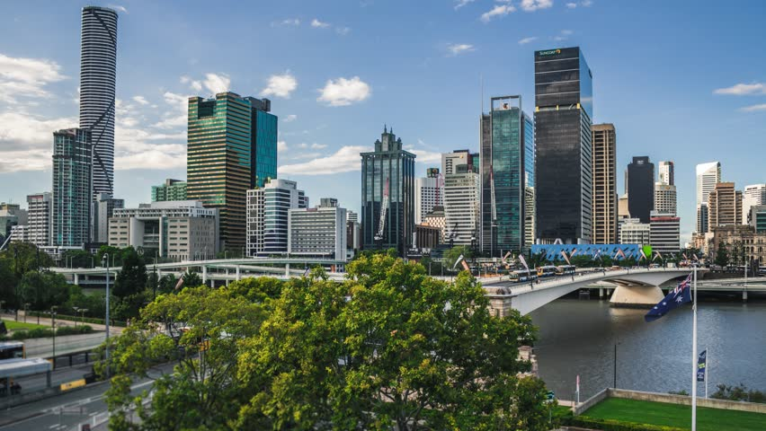 Business buildings in Brisbane city. Australia. Timelapse HIGH QUALITY