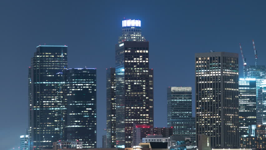 Los Angeles Skyline 17 Downtown Night Time Lapse | Shutterstock HD Video #17364820