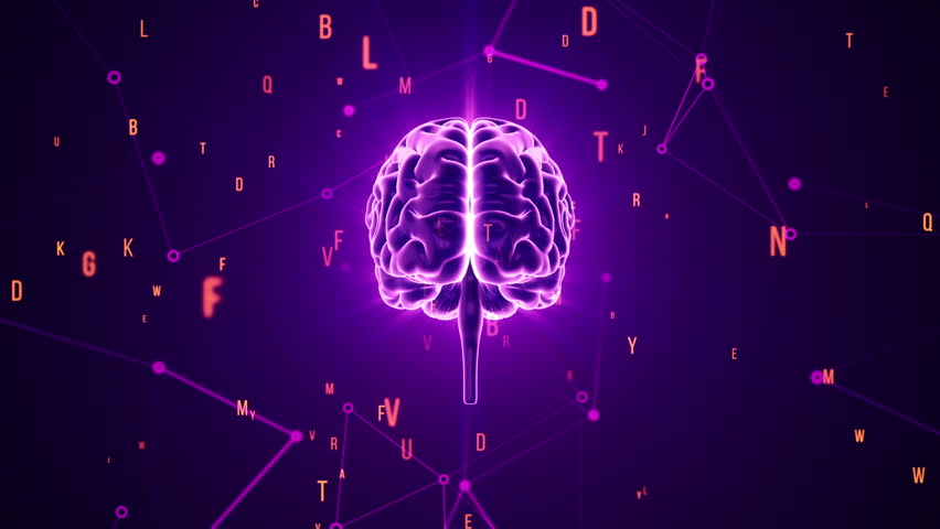Animation of rotation human brain with flying data around. Animation of seamless loop. | Shutterstock HD Video #17368012
