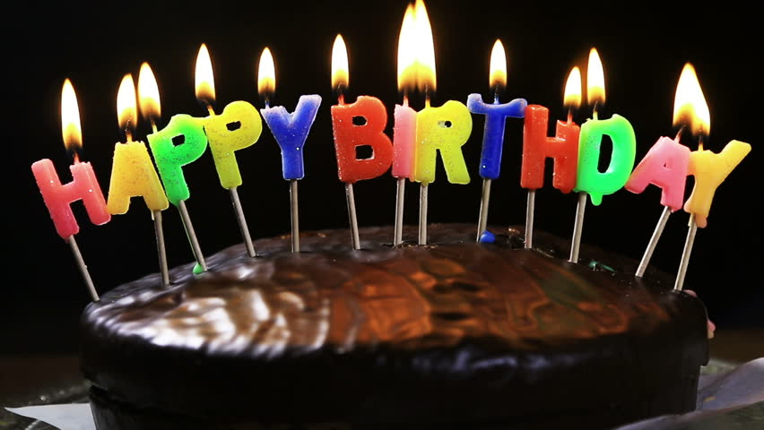 Prime Lighted Candles On A Happy Birthday Cake Candles With The Words Personalised Birthday Cards Veneteletsinfo