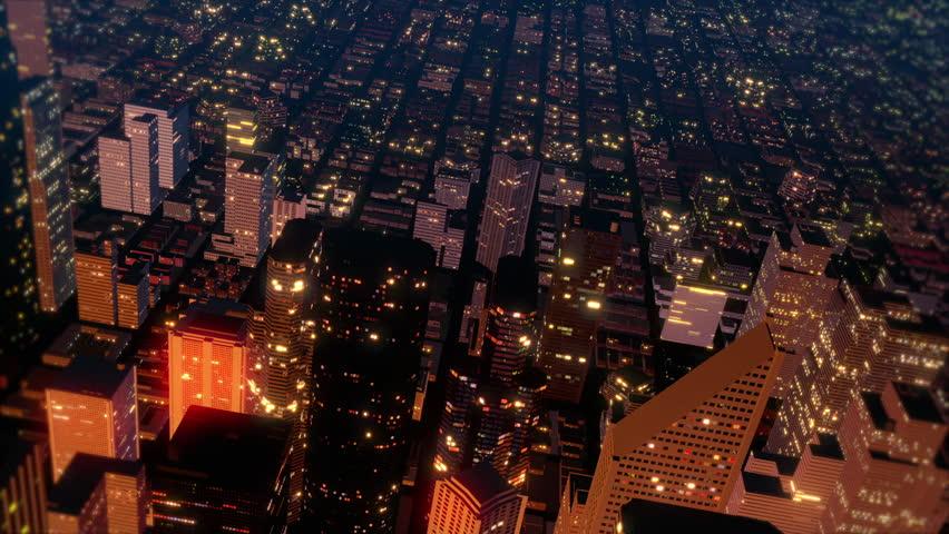 Downtown Metro City Skyline Fly Over Aerial Loop | Shutterstock HD Video #1739656