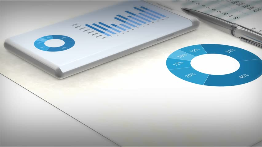 Close-up view to a workspace with graphics on a sheet of paper and a smartphone on data for analysis. 3d rendering  Royalty-Free Stock Footage #17404474