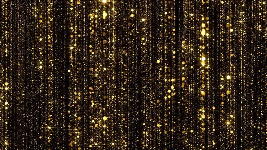 Gold Particles Glitter Glamour Rain