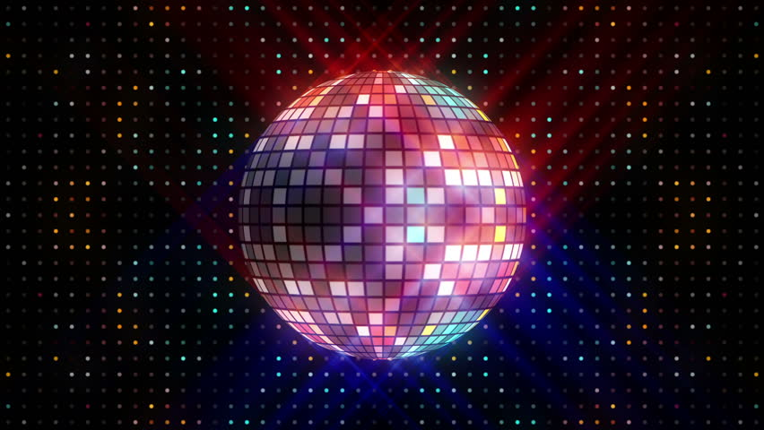 Disco ball and LEDs animation for music broadcast TV, night clubs, music videos, LED screens and projectors, glamour and fashion events, jazz, pops, funky and disco party.  #17423266