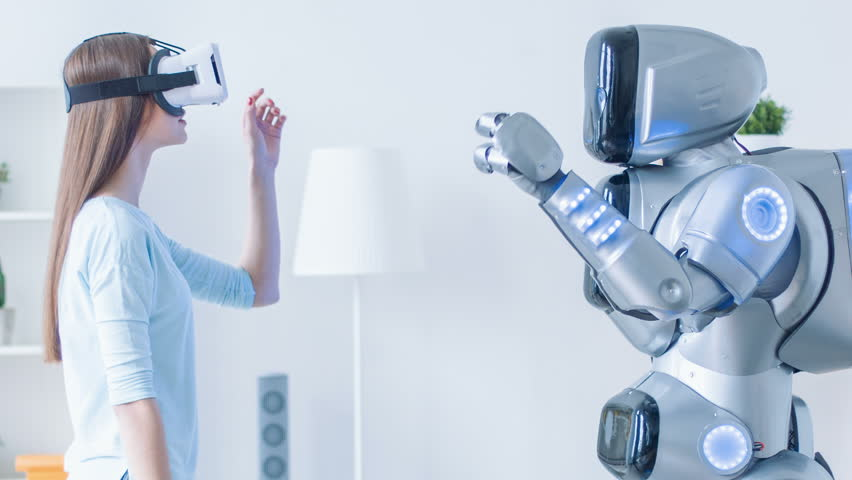 Pleasant woman repeating motions after robot #17433166