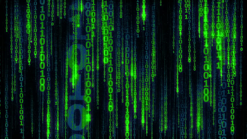 Abstract animated background - cyberspace with digital falling lines, binary hanging chain, seamless loop   Shutterstock HD Video #17447407