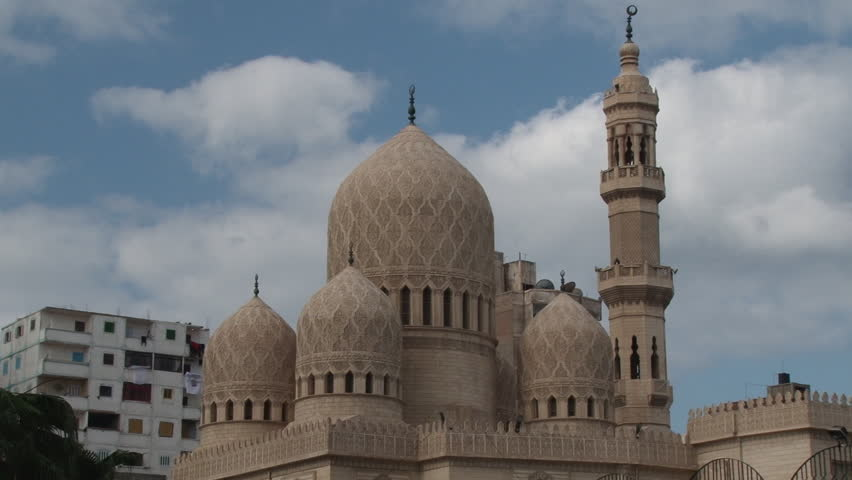 Detail shot of domes at the El-Mursi Abul Abbas Mosque in Alexandria , Egypt