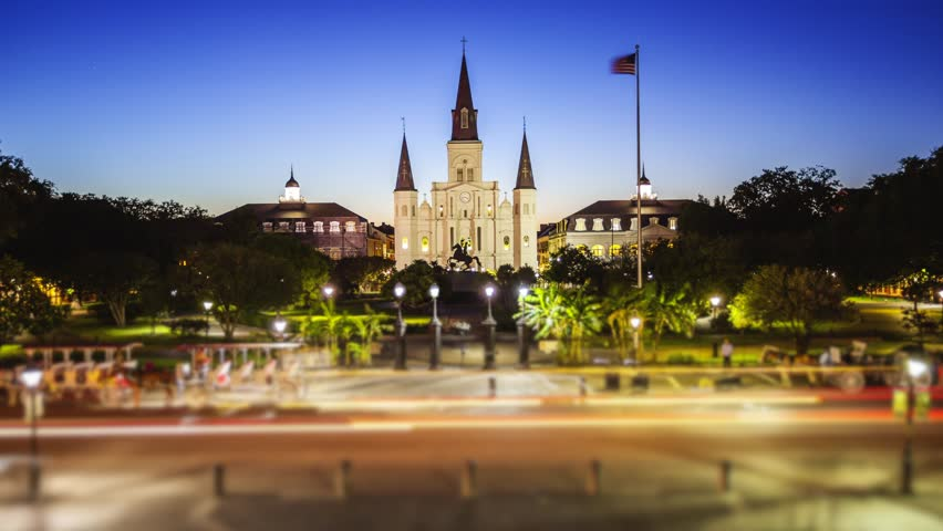 Jackson Square in New Orleans French Quarter at Night in Louisiana - Time Lapse
