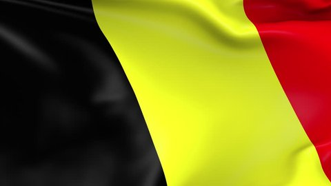 Photo realistic slow motion 4KHD flag of the Belgium waving in the wind. Seamless loop animation with highly detailed fabric texture in 4K resolution.