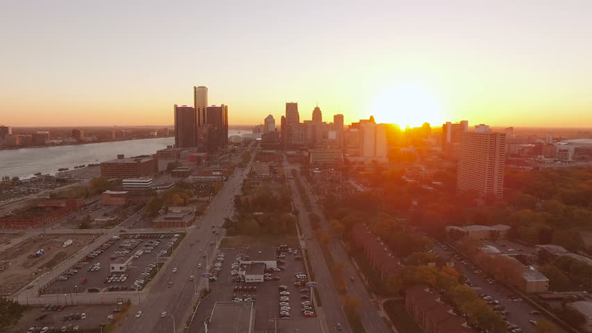 Detroit Aerial v119 Flying low over downtown panning with cityscape sunset views. 10/16