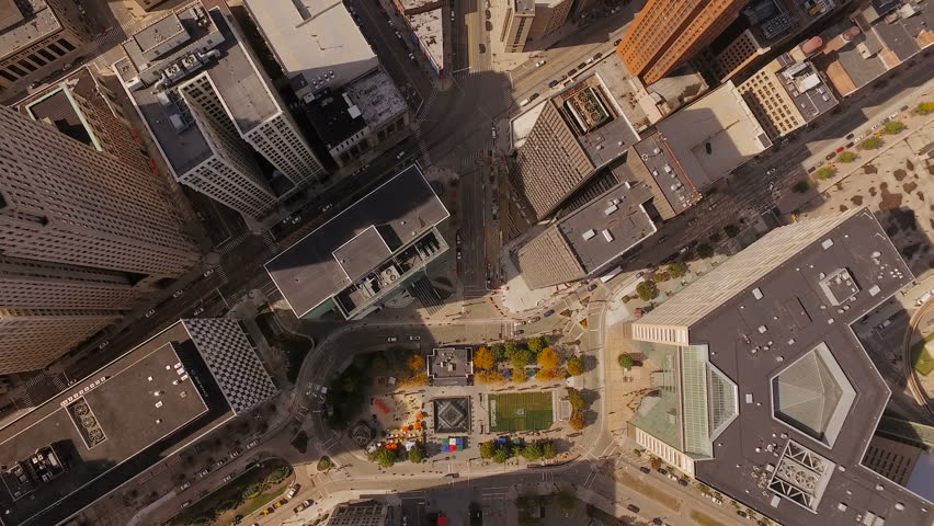 Detroit Aerial v93 Vertical shot over downtown then panning up.