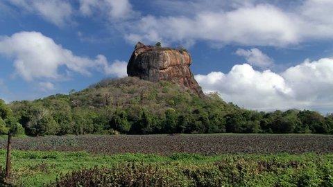 View to the Sigiriya rock fortress in Sri Lanka.