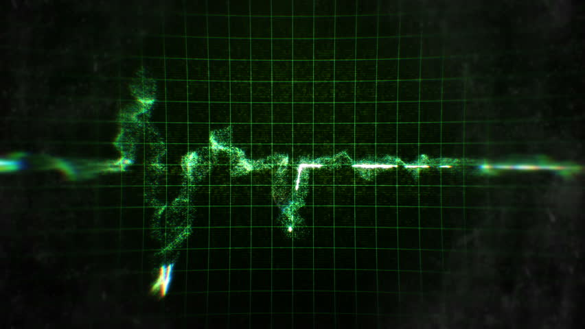 Green EKG heartbeats on black background with grid and sound FX.