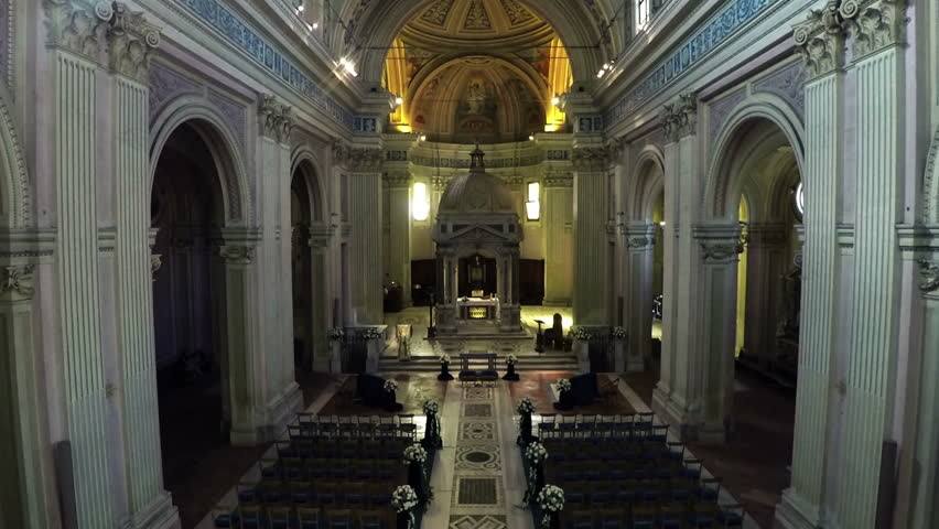 May 2015 Interior of Basilica of Sant Bonifacio e Alessio in Rome, Italy. Drone approaches N. About church, vatican, religion, catholicism, architecture, tourism, art, building, altar, mausoleum